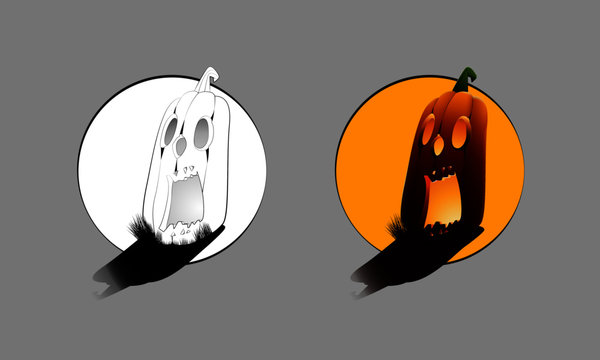 Single Long Halloween Pumpkin in color and outline mode