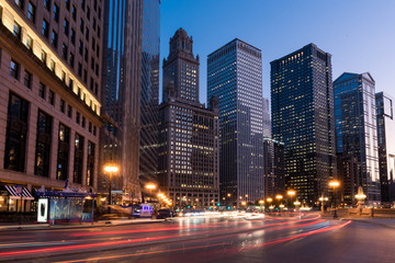 Traffic along Wacker Drive on Chicago, Illinios