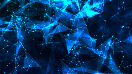 Abstract polygonal space low poly blue background with connecting dots and lines. Futuristic HUD illustration. Abstract form with connected lines and dots.