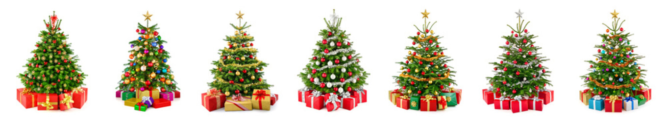Set of 7 different gorgeous natural Christmas trees with ornaments and gift boxes, studio isolated on white background Fotobehang