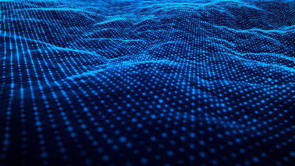 Technology wave of particles landscape beautiful wave shaped array of glowing dots abstract background with a lines dynamic wave big data Fotoväggar