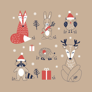 Cute cartoon woodland animals in scandinavian style. Christmas set of funny characters on kraft background. Flat vector illustration.