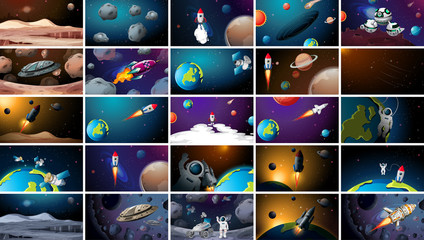 Printed kitchen splashbacks Kids Large set of different space scenes