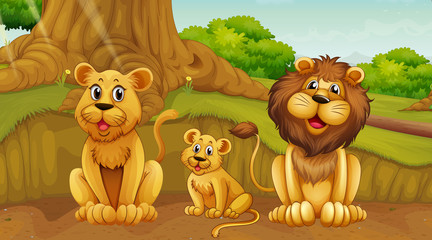 Scene with lion family in the park