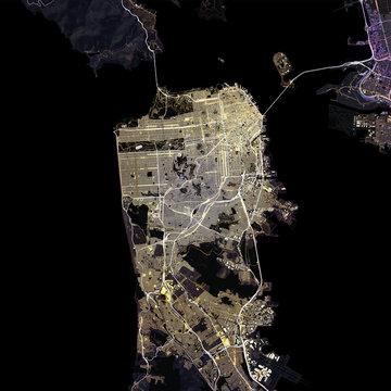Map San Francisco city. California