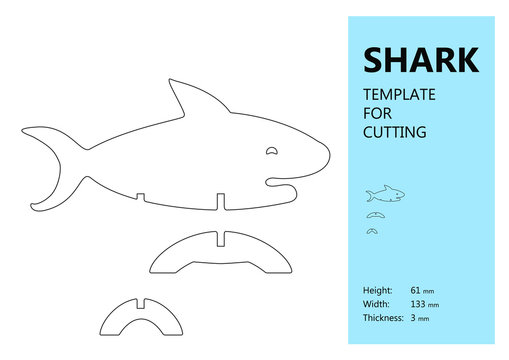 Template for laser cutting, wood carving, paper cut. Silhouette of shark. Vector illustration