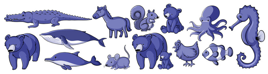 Many animals in purple color