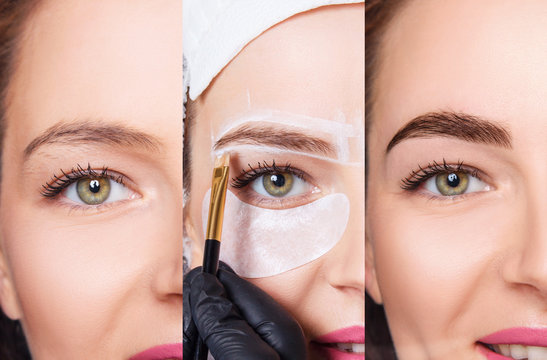 Young woman before and after eyebrows architecture. Step by step.