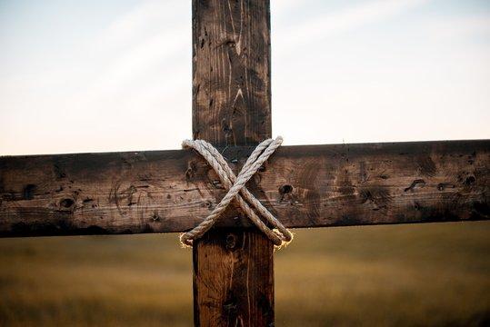 Closeup of a wooden cross