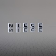 The concept of niece represented by wooden letter tiles