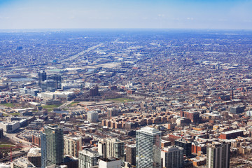 Fototapete - Long view of Chicago city suburb area from above