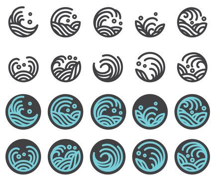 water wave logo design vector set