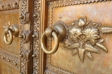 Art work door in Chandra Mahal Palace (City Palace) in Jaipur, The Pink City, Rajasthan, India.