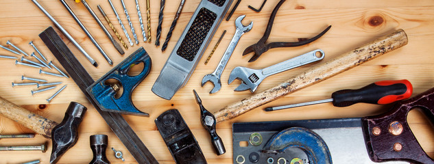 DIY woodwork tools - panorama / banner for working, making stuff, & home improvement concepts.