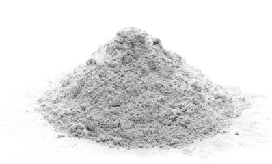 Pile of cement powder isolated on white background Fototapete