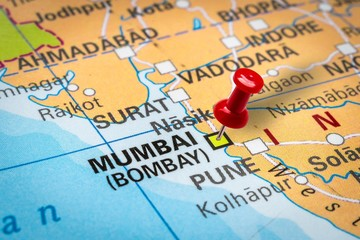 Pushpin pointing at Mumbai (Bombay) city in India