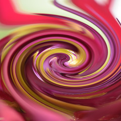 Photo sur Plexiglas Spirale Pattern of a spiral abstract fractal effect created from the photo of a red and yellow flower.