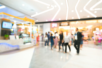 Blurred image of people shopping in department store