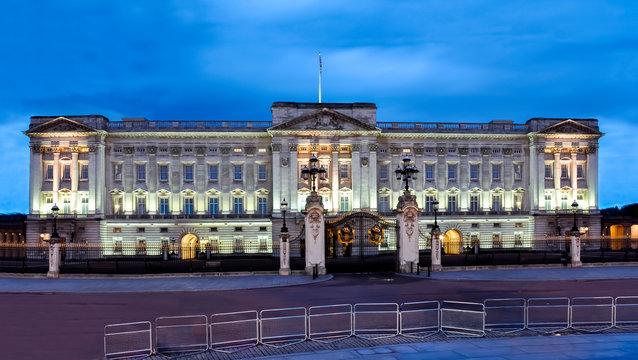 London, UK - May 2019: Buckingham palace and Victoria memorial at night