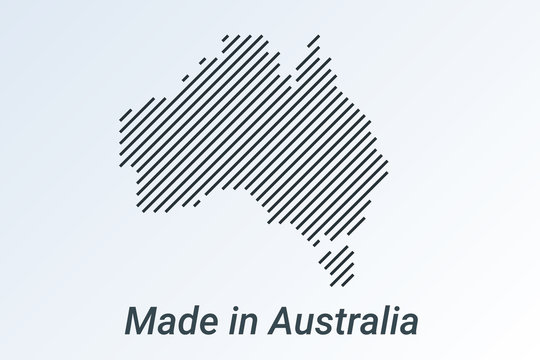 Made in Australia, striped map in a black strip on a silver background