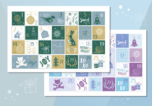 Advent Calendar Poster with Holiday Illustrations