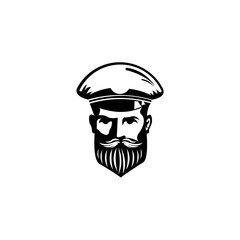 Nautical logo with captain icon,boat captain Elegant emblem isolated on white background, Vector template for cruise ship sea travel agency or other marine companies.