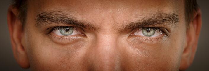 close-up macro shot of human eyes