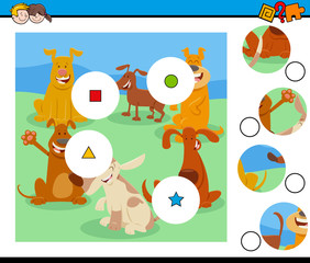 match pieces puzzle with cute dogs characters
