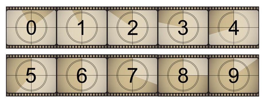 Movie countdown retro cinema. Vector illustration in a flat style.