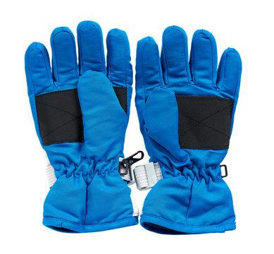 Blue ski gloves, kids protection for hands.