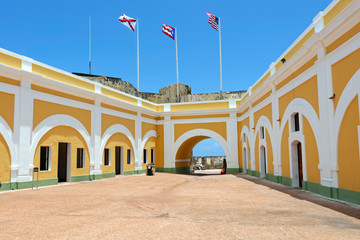 Interior courtyard in the 16th century El Morro fortress in San Juan, Puerta Rico