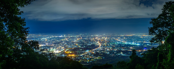 City night from the view point on top of mountain , Chiang mai ,Thailand Fototapete