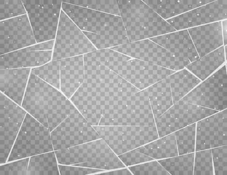 Realistic cracked ice surface. Frozen glass with cracks and scratches. Vector illustration.