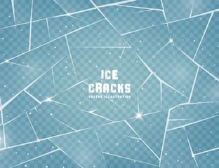 Fototapeta Realistic cracked ice surface. Frozen glass with cracks and scratches. Vector illustration. obraz