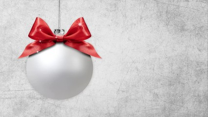 Fotomurales - merry christmas tree balls with ribbon bows change colors isolated on grey background with copy space