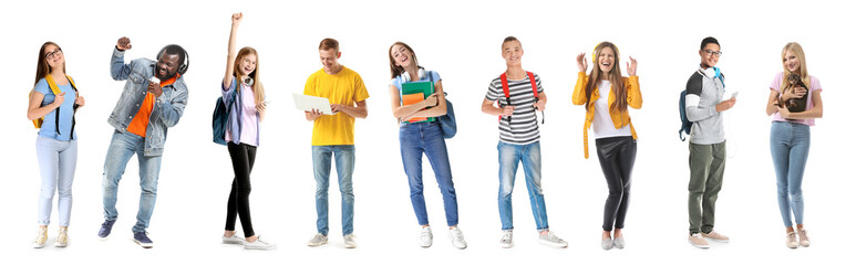 Group of happy teenagers on white background