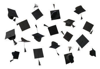 Collage with mortar boards on white background