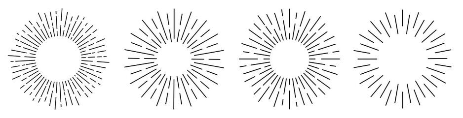 Sun rays or sunshine linear drawing. Vector
