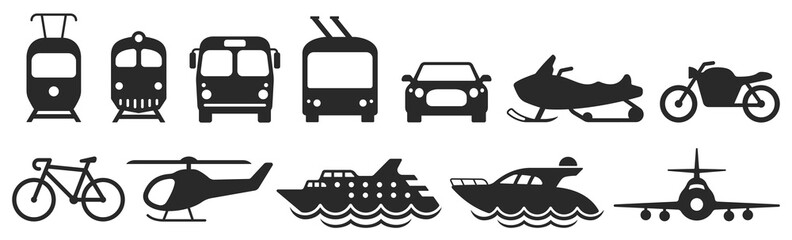 Public transport icons set. Vector