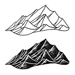 mountains illustration white background