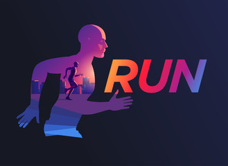 Vector illustration silhouette of a running male athlete marathon on a background of cityscape.  The dynamics of movement and color, picture in picture. Symbol logo for running event marathon.