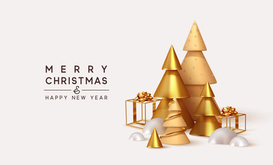 Fotomurales - Christmas 3D render illustrations. Composition from golden metallic pine, spruce trees. cubic hollow gifts box, white snow drifts. New Year cone shape trees. Xmas background, realistic objects design.