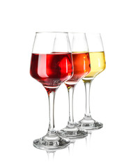 In de dag Alcohol Glasses of different wine on white background