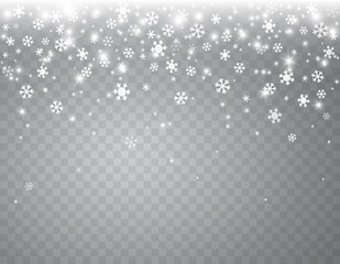 Snow flakes falling isolated on transparent background. Vector christmas snowfall overlay texture, white snowflakes flying in winter air.