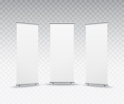 Roll up banner stand isolated on transparent background. Vector blank display set mockup for presentation or exhibition product template.