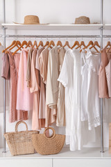 Stylish clothes and accessories in show room