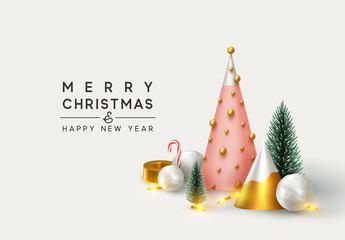 Fotomurales - Christmas 3D render illustrations. Composition from golden metallic pine, green spruce trees. round spheres of snow, snowballs . New Year cone shape trees. Xmas background, realistic objects design.