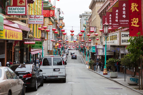 SAN FRANCISCO - JUNE 16: China town main street on June 16, 2015  San Francisco, California. It's the only authentic Chinatown Gate in North America.