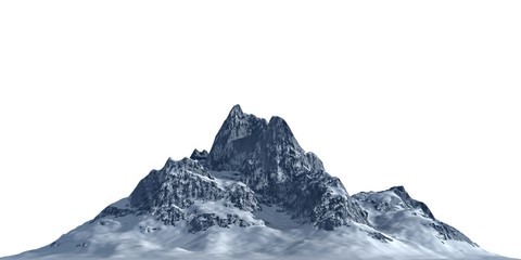 Poster Wit Snowy mountains Isolate on white background 3d illustration