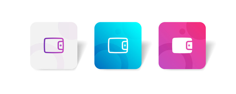 wallet round icon in outline and solid style with colorful smooth gradient background, suitable for mobile and web UI, app button, infographic, etc